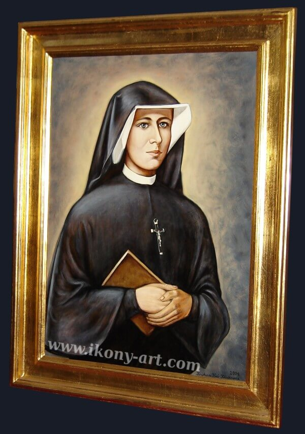 The painting of Saint Faustina Kowalska in the presbytery of the church.
