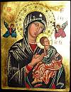 Our Lady of Perpetual Help. Copy of the icon, the church of Saint Alphonsus Liguori in Rome