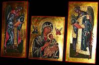 Our Lady of Perpetual Help. The Archangels Michael and Gabriel copies of Russian icons