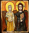 Christ and Abba Menas, Christ and His Friend. Saint Menas coptic icon from Bawit, Egypt. Now in the Louvre in Paris.