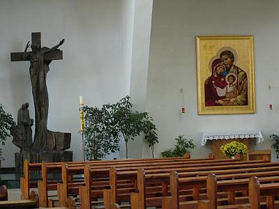 The Icon of The Holy Family. The icon of the Equipes Notre-Dame movement in the interior of the modern church of the XX century.