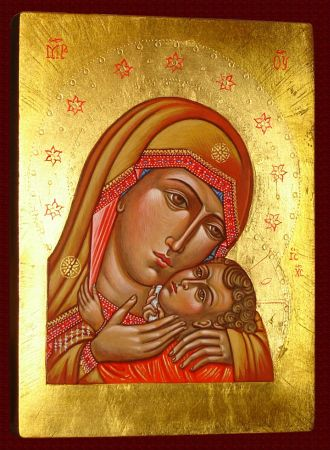 Icon Madonna with Child, Icon Eleusa, Virgin of Tenderness