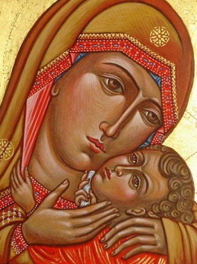 Icon Madonna with Child, Icon Eleusa, Virgin of Tenderness, hand-painted icon